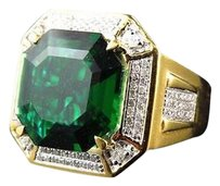 Yellow Gold Finish Royal Asscher Cut Emerald Real Diamonds Statement Ring 0.50ct