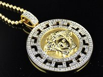 Yellow Gold Finished .50ct Real Diamond Medusa Head Medallion Pendant Chain