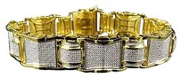 Yellow Gold Finished Puzzle Link Bars Genuine Diamonds Inch Bracelet 2.10ct.