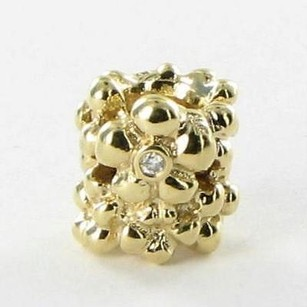 PANDORA Pandora 750344d Bead Charm Diamond Daisy 0.02ct 14k Yellow Gold Retired