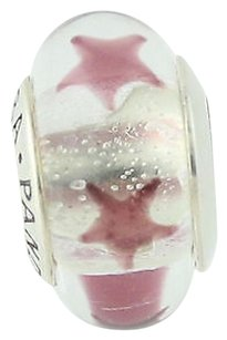 PANDORA Pandora Bead Charm - Sterling Murano Glass 790903 Maroon Stars Retired