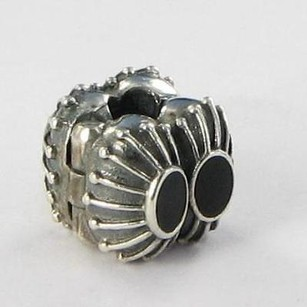 PANDORA Pandora Clip Bead 790578en16 Two Of A Kind Black Enamel Sterling Silver
