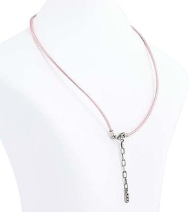 PANDORA Pandora Charm Necklace 590397pk Pink Leather 17.5 45cm Sterling Silver