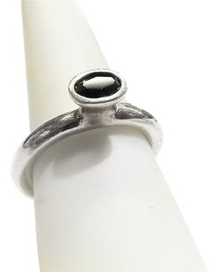 PANDORA Sterling Silver Ring With Black Stone Size 8