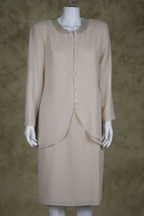 Patra Patra Womens Creme Skirt Suit Below Knee Evening Blazer