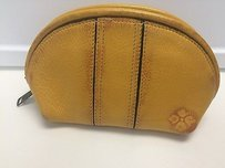 Patricia Nash Designs Patricia Nash Italian Leather Yellow Double Zip Around Cosmetic Bag B2122