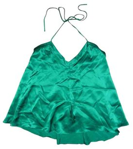 Patterson J. Kincaid Man Repeller Pjk Silk Flowy Green Emerald Halter Top