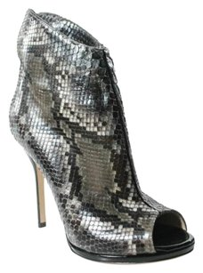 Paul Andrew Made In Italy Leather Sole Open Toe Snakeskin Black and Taupe Boots