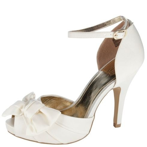 wedding shoes with bows payless ivory peep toe l bow formal size us 8 5 1139