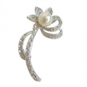 Silver Ivory Pearl Sunflower Casting Clear Simulated Diamond Crystals Brooch/Pin