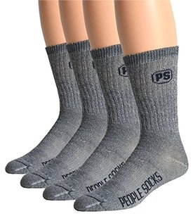 People Socks 4 Pairs 71% Mens Merino Wool Hiking Crew Socks Hunting Camping Trekking Made in USA
