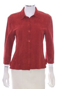 Philippe Adec Leather Suede India Cut-out Laser Button 3/4 Sleeve Designer Button Down Shirt Dark Red