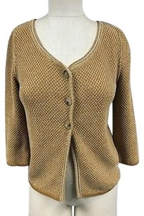 Piazza Sempione Mustard Cotton Button 34 Sleeve Cardigan Sma8313 Sweater