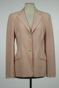 Piazza Sempione Piazza Sempione Womens Pink Blazer Wool Long Sleeve Career Basic Jacket