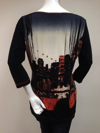 Picadilly Fashion Picadilly Graphic Orange Black Multi Print Matte Mesh Trim Scoop Neck Top lovely