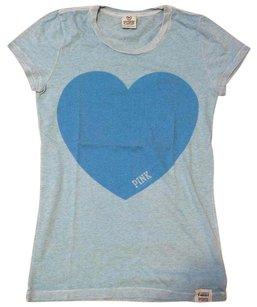 PINK Print Preppy T Shirt Light Blue Heart