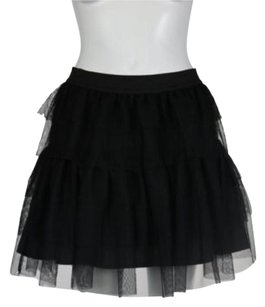 Pink Rose Womens Tiered Above Knee Party Casual Skirt Black