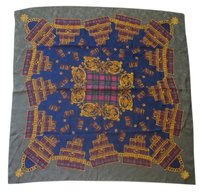 Other Vintage Large Square Silk Jacquard Scarf 100% Silk Scarf Scottish British Royal Suitcase Chain Tartan Print Grey Gold Blue Color 40