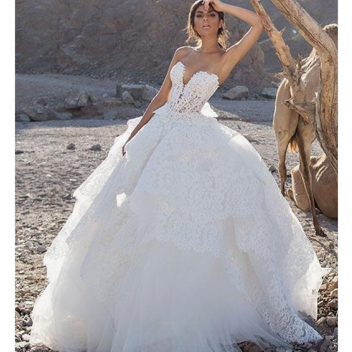 Famoso Pnina Tornai White Lace and Pearl 2017 Gown Sexy Wedding Dress  RL57