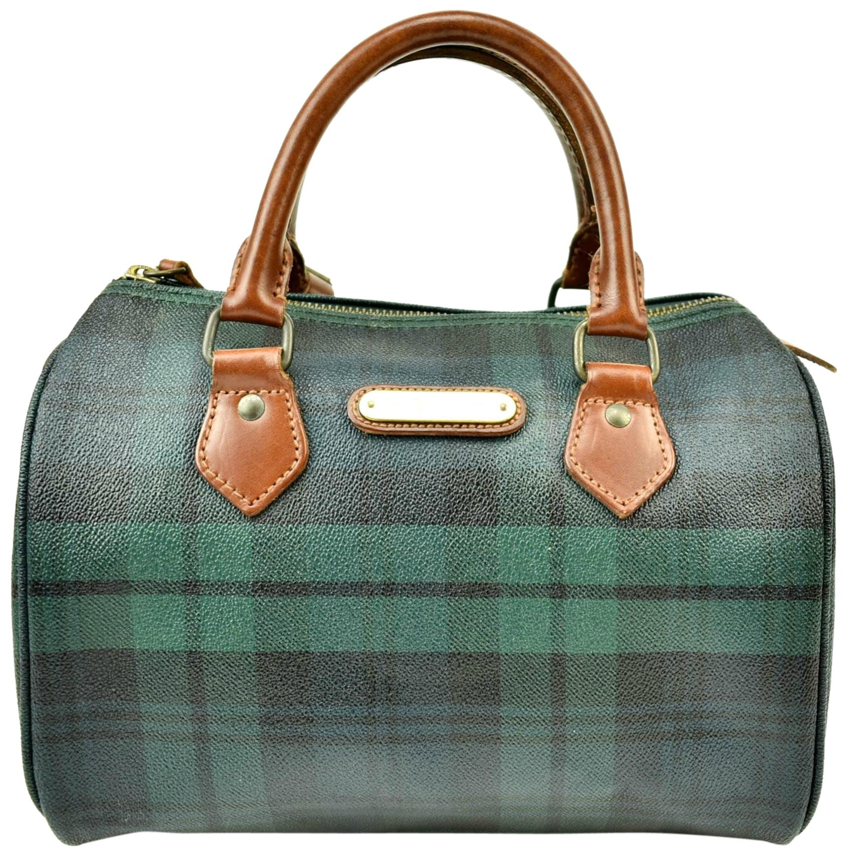 Polo Ralph Lauren Brown Leather Logo Bowling Tote in Tartan Green