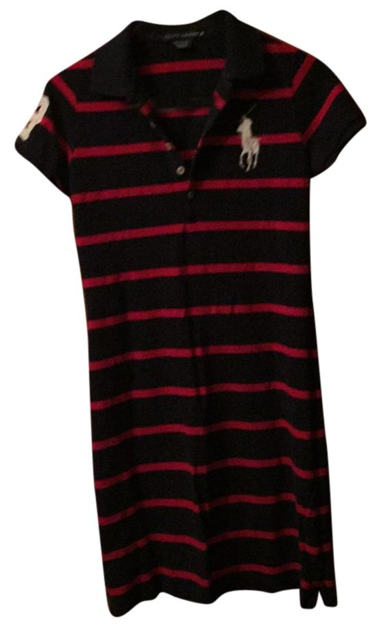 Polo Ralph Lauren short dress Blue and red stripe with white logo on Tradesy