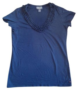 Polo Ralph Lauren T Shirt NAVY RUFFLE V NECK TEE SHIRT