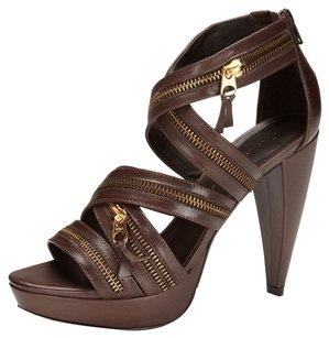 Pour La Victoire Sandal Zipper Brown Sandals