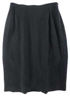 Prada 42 Black Crepe Fitted Yh Skirt
