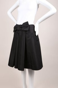 Prada Black Silk Pleated Bow Skirt
