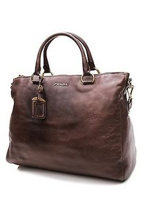 Prada Cenere Vitello Lux Tote in Brown