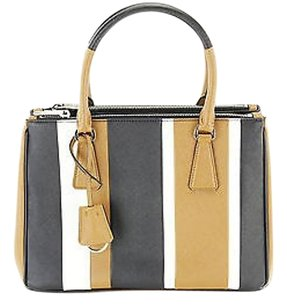 Prada Saffiano Baiade Striped Tote in multi-colored