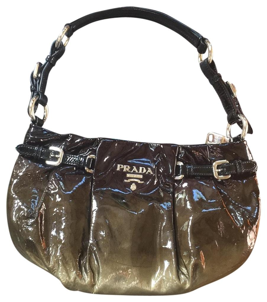 99c2b01877c396 ... promo code for prada baguette olive and silver patent leather hobo bag  tradesy e6090 efbcc