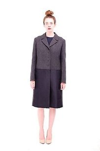 Prada Wool Black Satin Silk Colorblock Magnet Button Notch 448 Coat