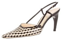 Prada Basketweave Slingback Pointed Toe Square Toe Contrast Cream, Black Pumps