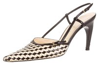 Prada Basketweave Woven Slingback Leather Tan, Brown Pumps