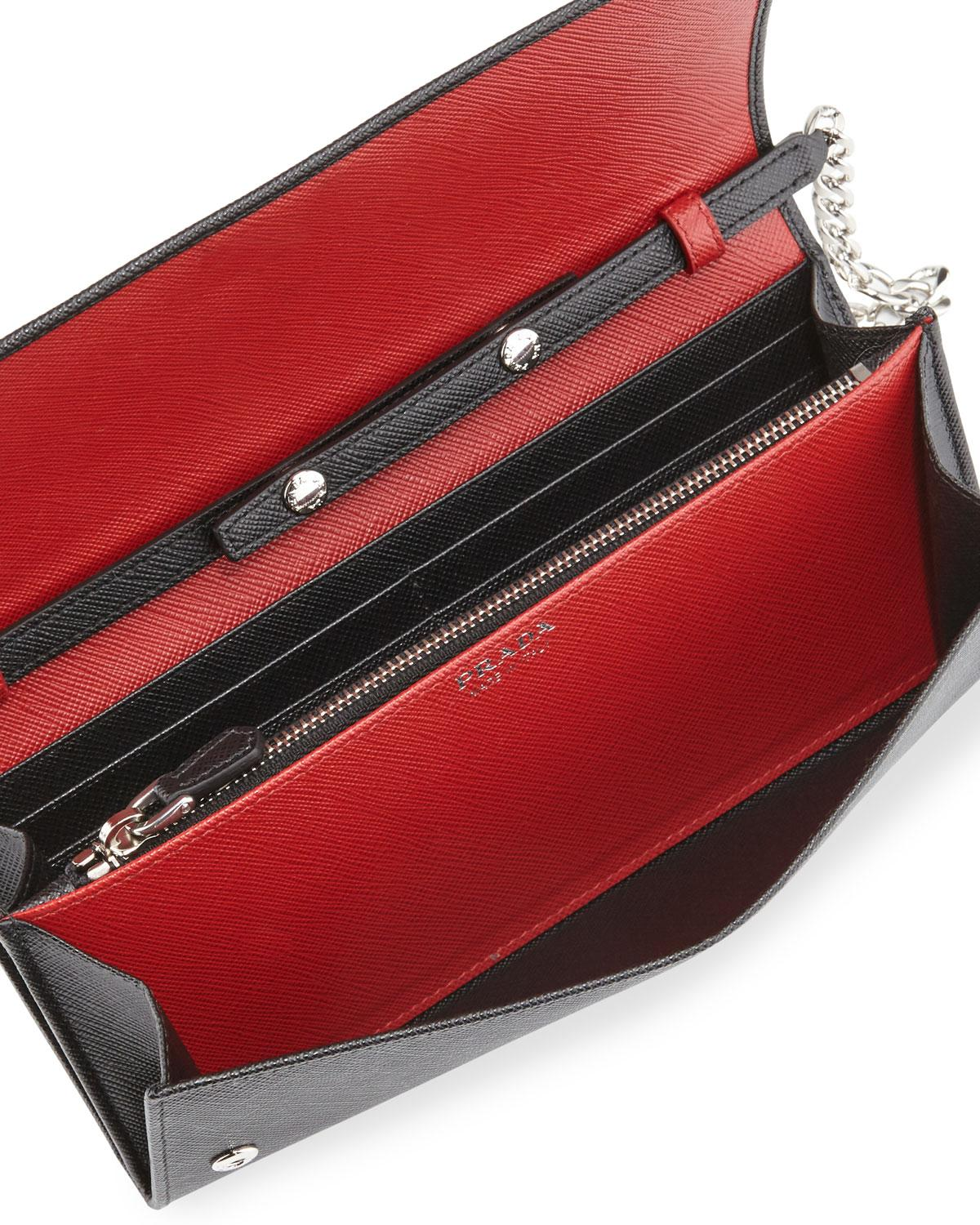 334a833c369d ... clearance prada saffiano wallet on chain made in italy bicolor wallet  cross body bag. 123456789101112