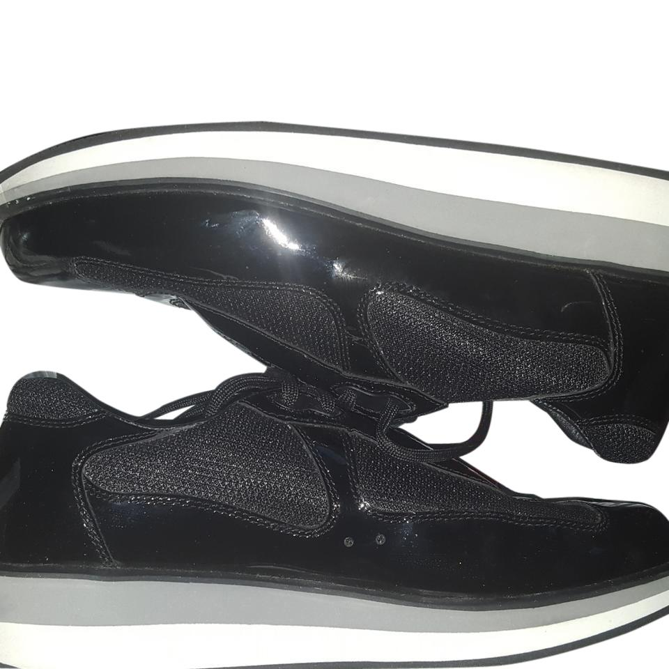 prada 3e5398 black patent leather athletic shoes