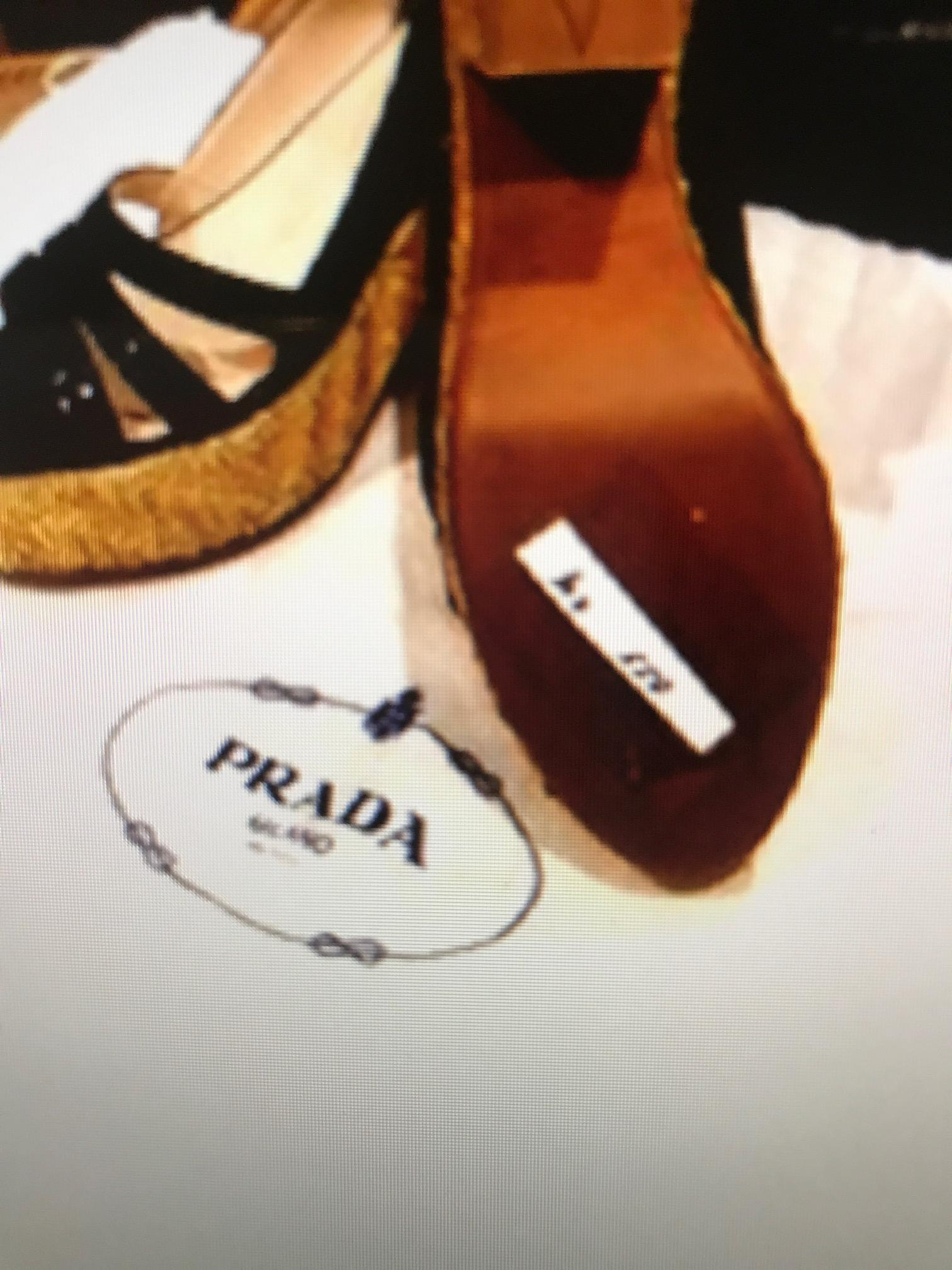 987ace79798a ... Prada Black Patent Patent Patent Leather with Straw Wedge Heels Verde  Flats Size EU 38.5 ...