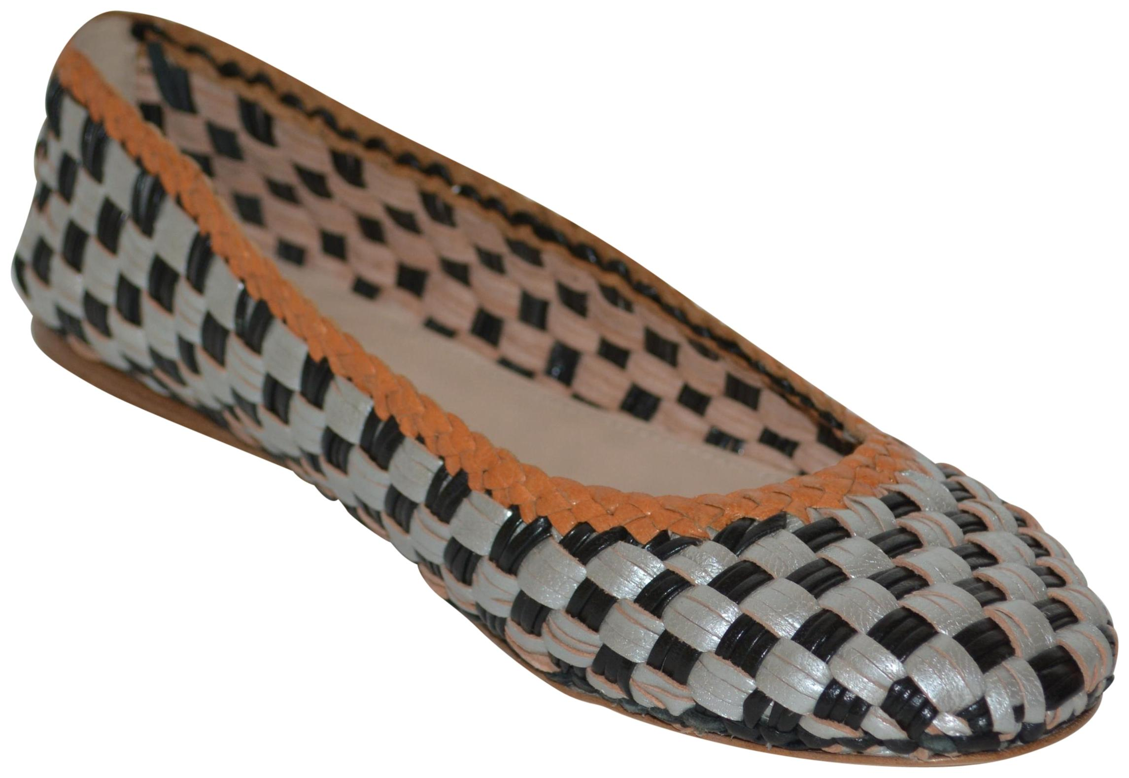 Prada Black Leather / Silver / Brown Leather Black Woven Eu 38 New In Italy Flats Size US 8 Regular (M, B) 7cf344
