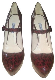 Prada Burgundy leopard patent leather Pumps