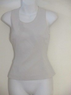 Prada Sleeveless Fitted Racer Back Top cream
