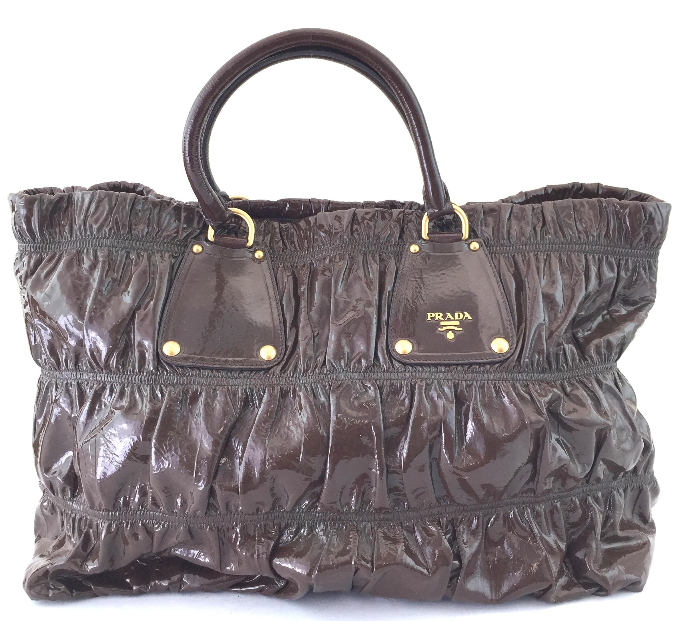 a94121a3fa41a2 ... amazon prada chocolate vernice gaufre 14664 brown patent leader tote  tradesy d86c0 7a2d0