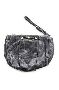 Prada Distressed Black Clutch
