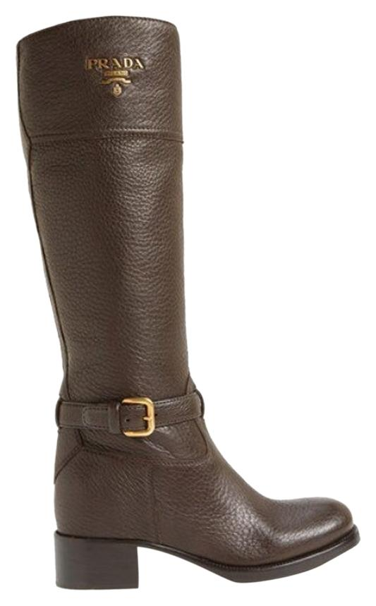 Prada Coffee Logo Riding Boots/Booties Size US 7.5 Regular (M, B)