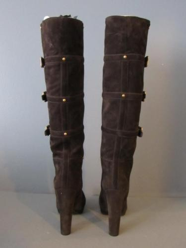 ad7e9c007035 ... Prada Dark Brown Suede Gold Gold Gold Buckle Pull On Knee Tall Boots  Booties Size ...