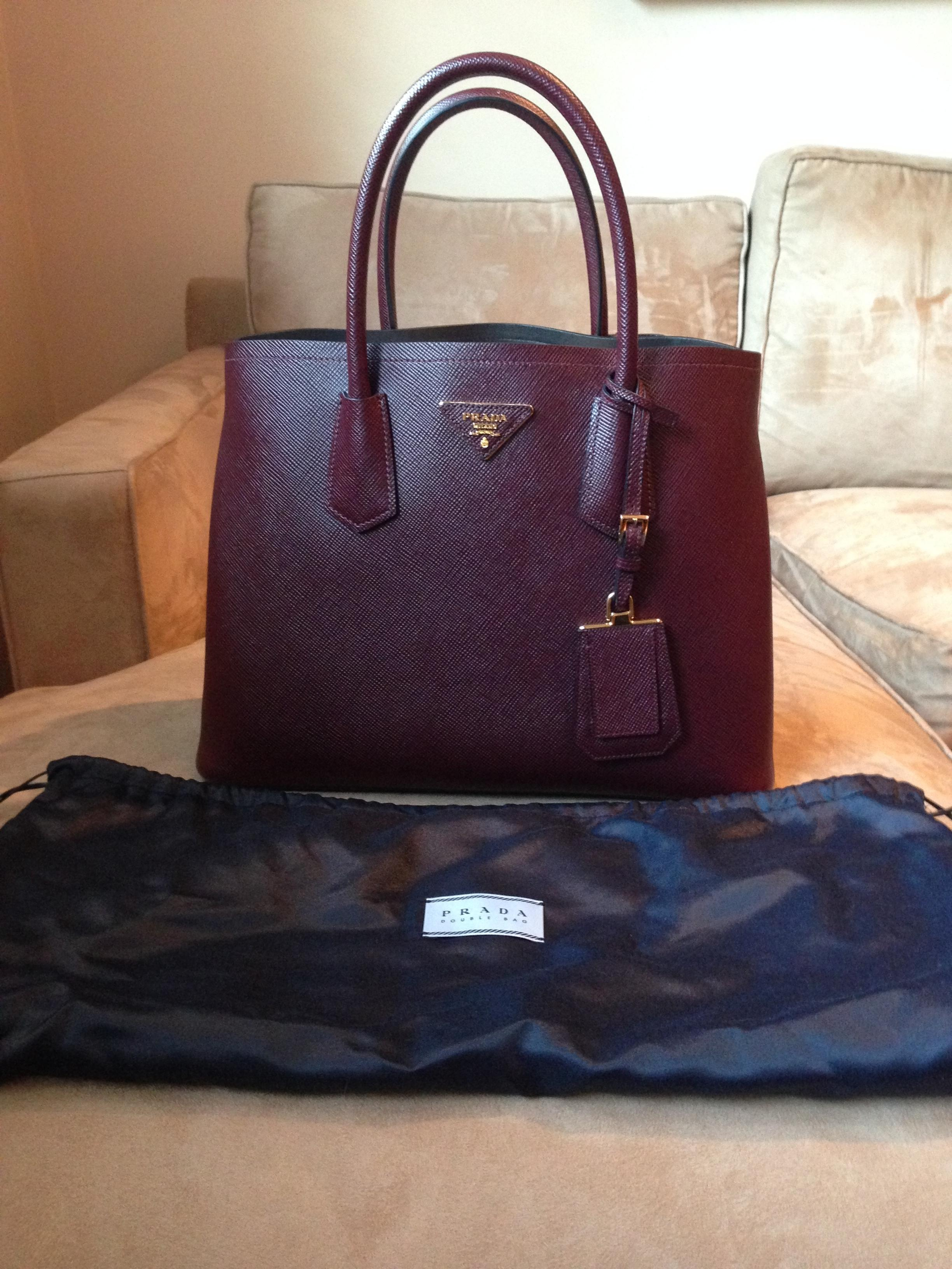 88c7c54a9864 ... shop prada double small ox blood saffiano leather tote tradesy 5e108  a2f2c