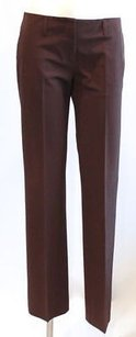 Prada Chocolate Stretch Nylong Pleated Work Career Trousers Pants