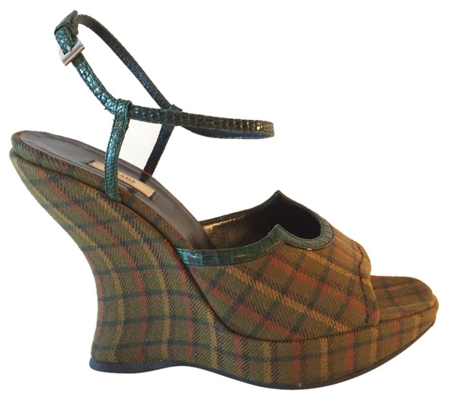 sale really Prada Plaid Wedge Sandals quality free shipping for sale supply online free shipping really 1aeEcyx