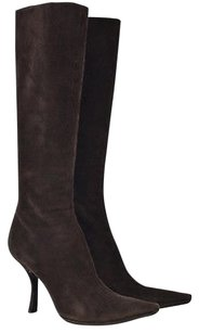 Prada Womens Knee High 388 Suede Solid Heels Brown Boots
