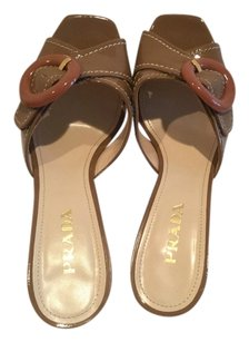 Prada Leather Espadrille Brown Wedges